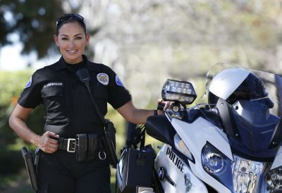 She's back for a third time on Garden Grove PD's motor team, and her heart is revving